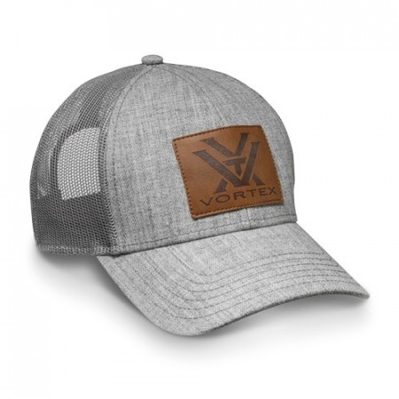 Vortex Heather Grey Leather Patch Caps